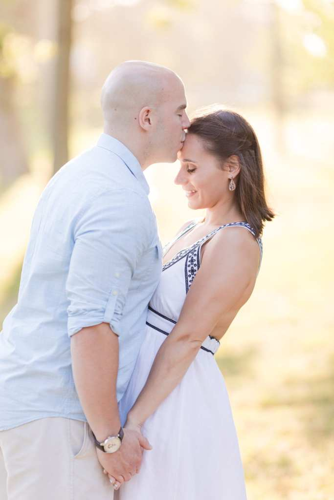Spring Lake engagement photos, New Jersey engagement photos, Forehead kiss engagement photo,