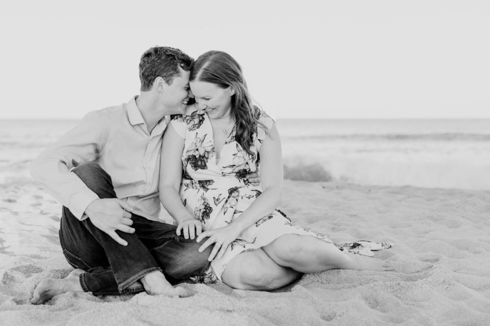 beach engagement photos, black and white engagement photos, Long Branch engagement photos, Jersey shore engagement photos