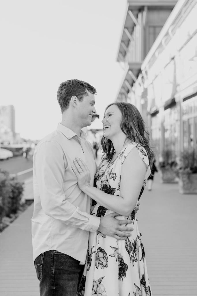 Long Branch engagement photos, black and white engagement photos, New Jersey engagement photographer, Pier Village engagement photos