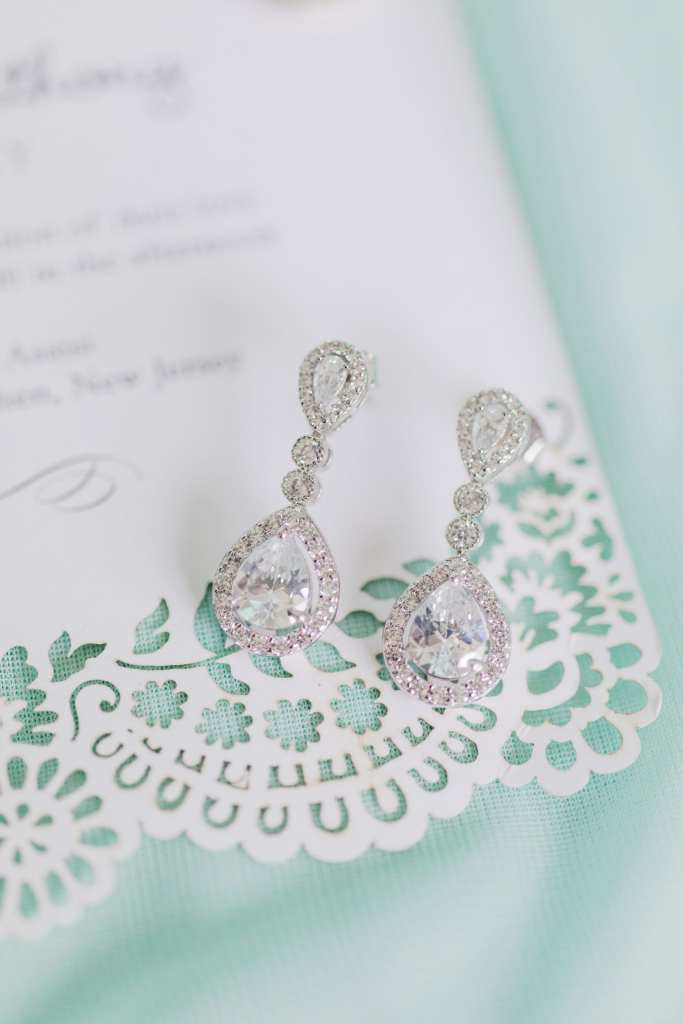 pear shaped tear drop earrings for bride, lace detailed invitation