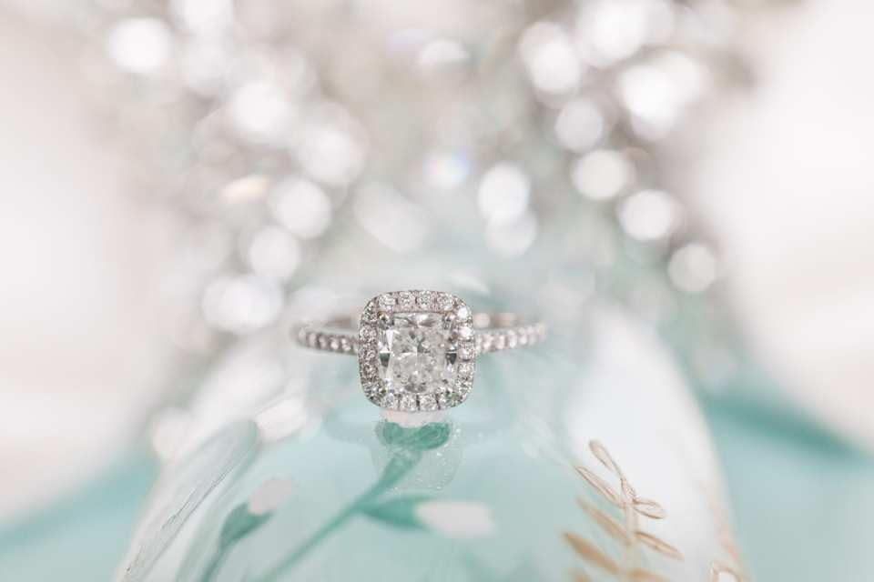cushion cut ring, cushion cut ring with diamond halo, unique engagement ring shot, NJ wedding photographer