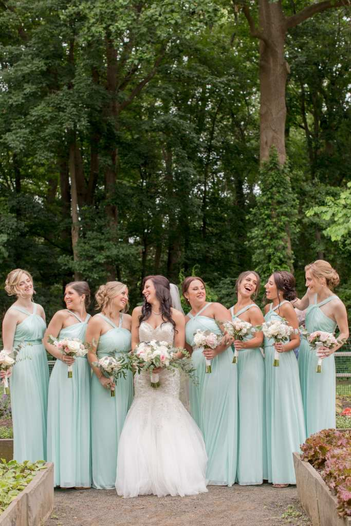 bride and her girls photo, mint bridal party photo, Deep Cut weddings
