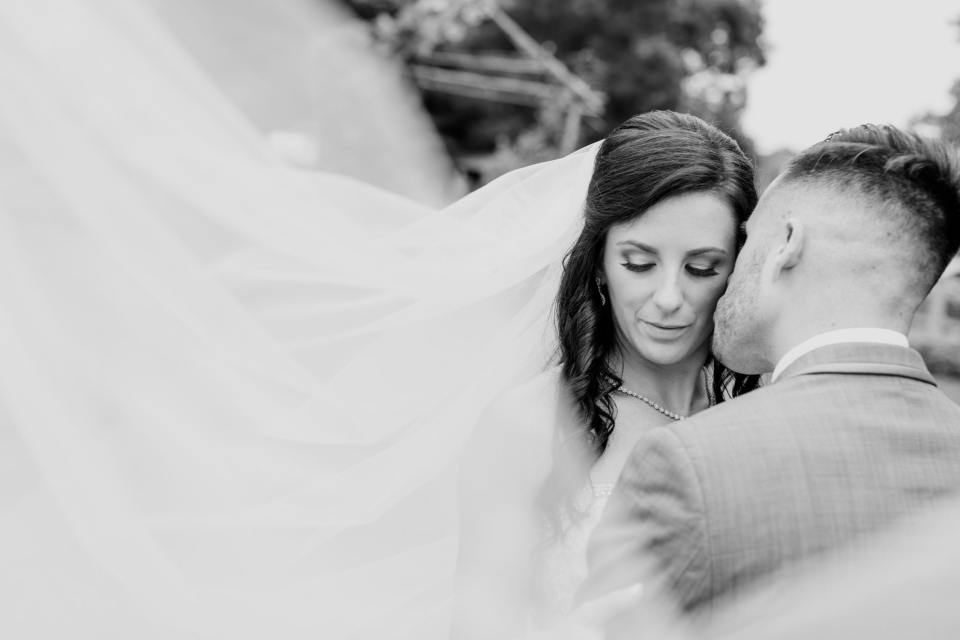 bride and groom veil photo, black and white photo, NJ wedding photographer