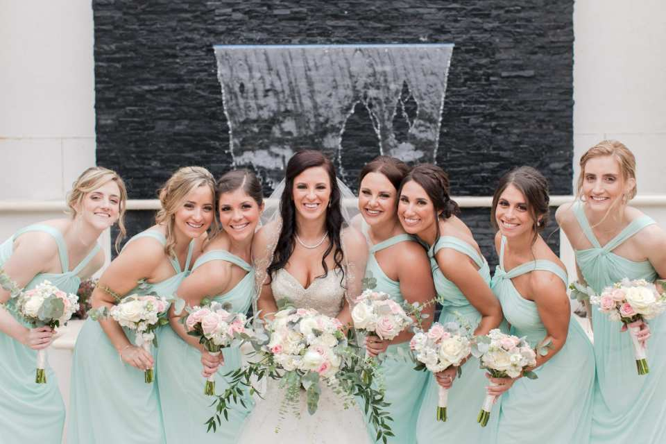 bridal party waterfall photo, Gramercy wedding photos