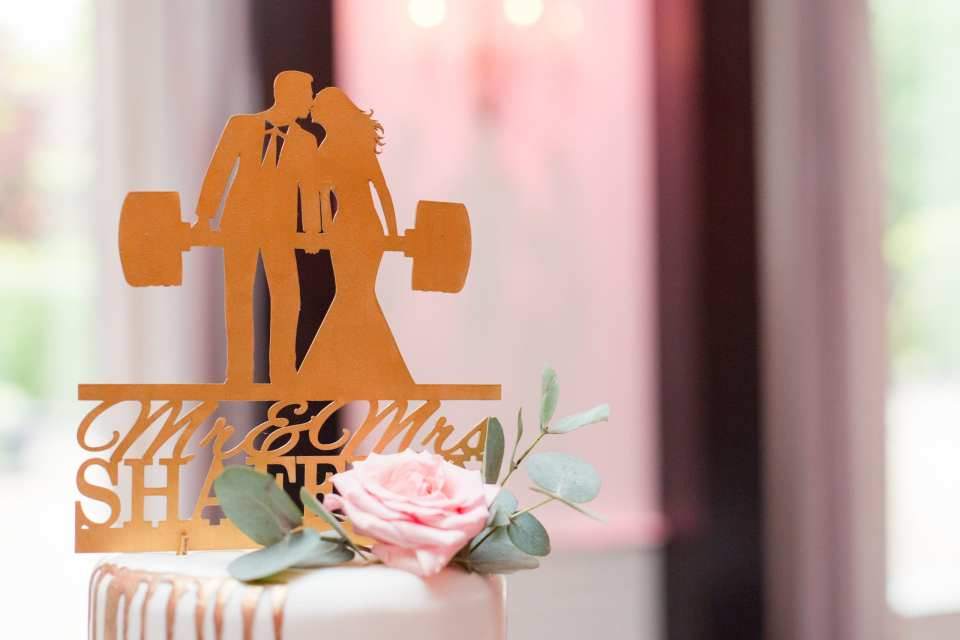 custom wedding cake topper, gold cake topper, couple who lifts together stays together