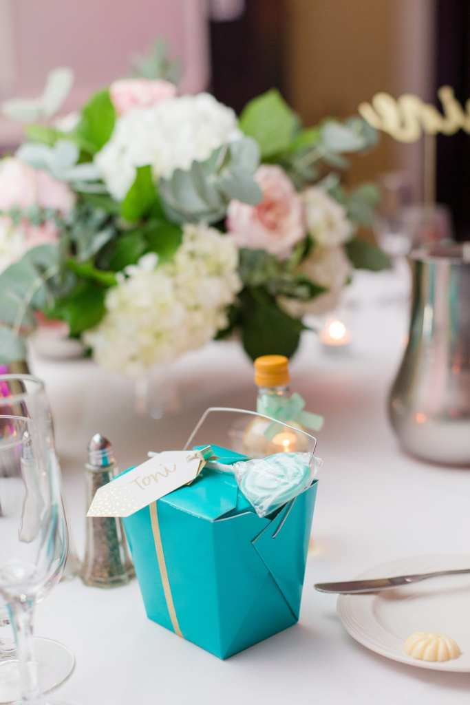 tiffany blue wedding favor boxes, unique wedding favors at the Gramercy