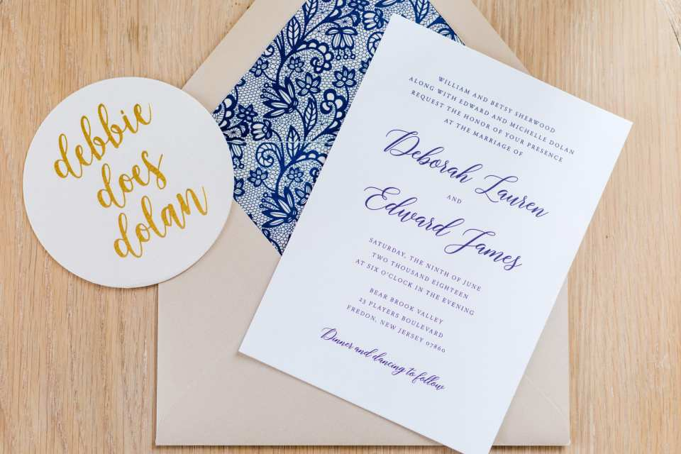 navy blue lace and gold wedding invitation, nj wedding photographer, One Two Bre