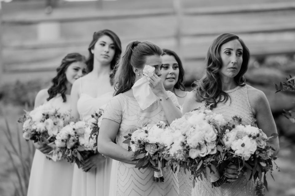 bridesmaids, black and white bridesmaids photo, NJ wedding photographer, bear brook valley wedding ceremony