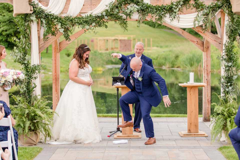 Bear Brook Valley weddings, Maggie Sottero, New Jersey wedding photographer, pergola ceremony setup, Castiglione events