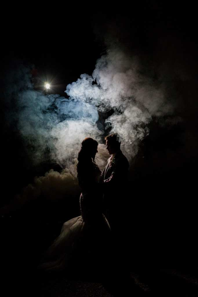 bride and groom night shot, bride and groom with special effects, bride and groom photo with smoke effect, New Jersey wedding photographer