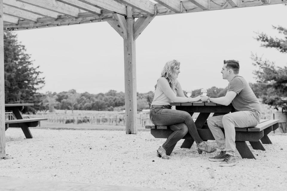 Laurita Winery, NJ winery, winery engagement photos, black and white engagement photos, New Jersey wedding photographer