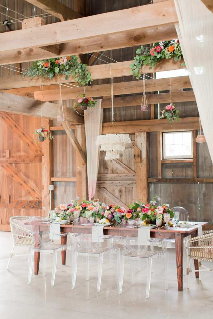 Updike Farmstead wedding, rustic Princeton wedding, alternative rustic wedding reception table, low reception florals