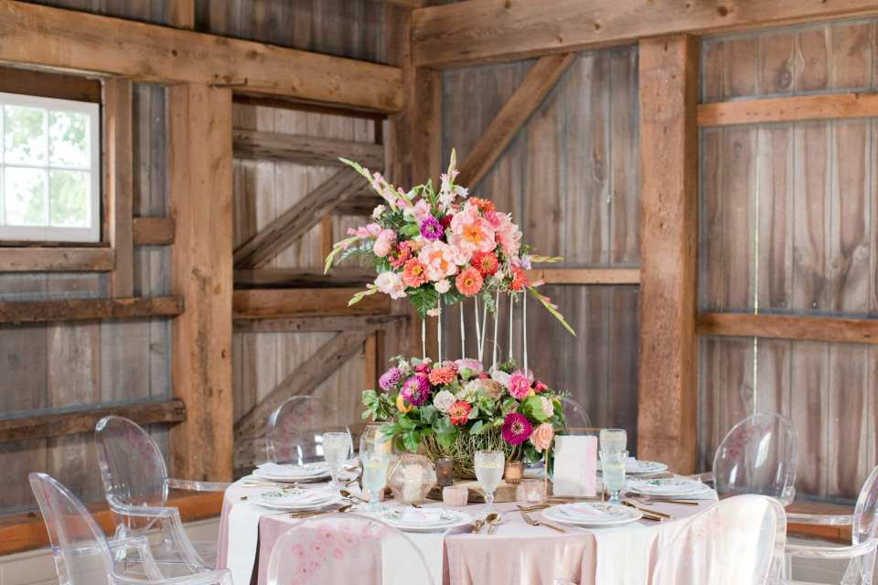 Updike Farmstead wedding, rustic reception, aster reception centerpiece