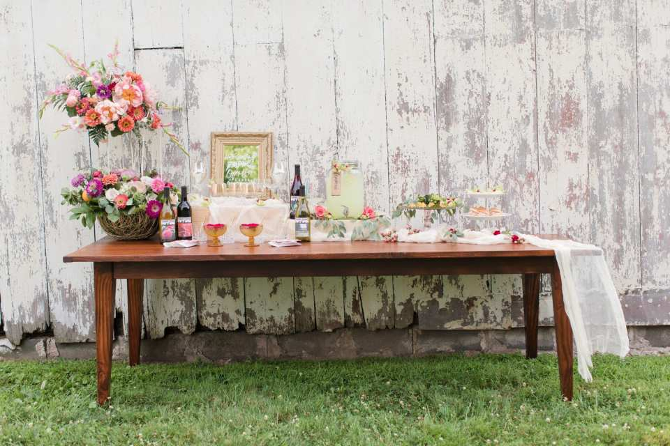 wedding welcome station with drinks, rustic wedding drink idea, updike barn events, guest welcome station for wedding