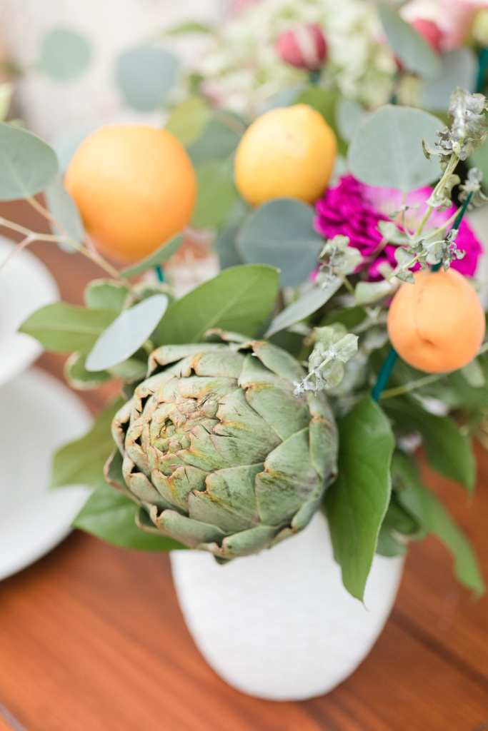 incorporating citrus and vegetables into wedding, farm to table wedding decor