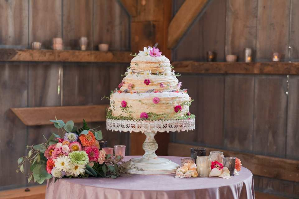 Updike wedding, rustic Princeton wedding, rustic cake table, crepe wedding cake, alternative wedding cake, Jammin Crepes, New Jersey wedding cakes