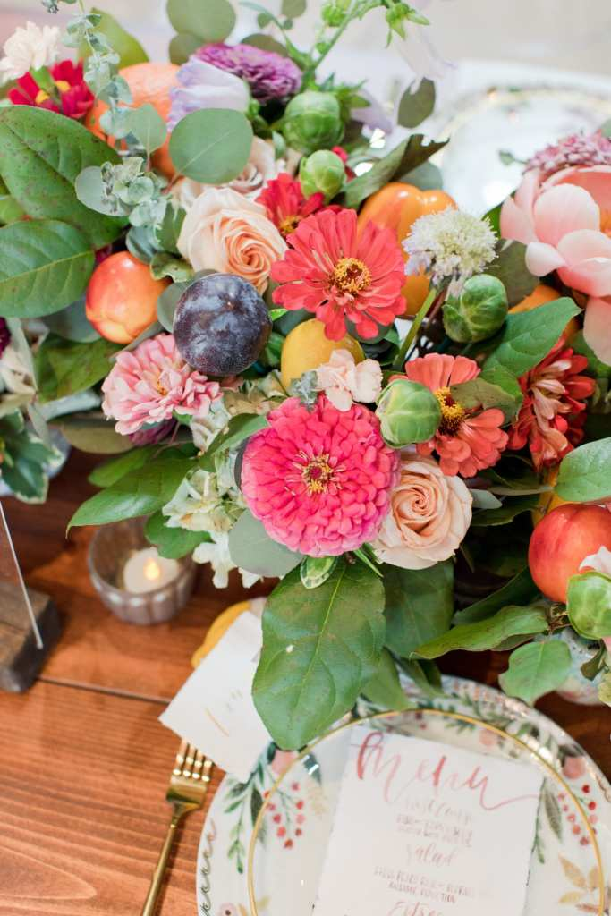 rustic centerpieces, farm to table wedding, flower and fruit centerpieces