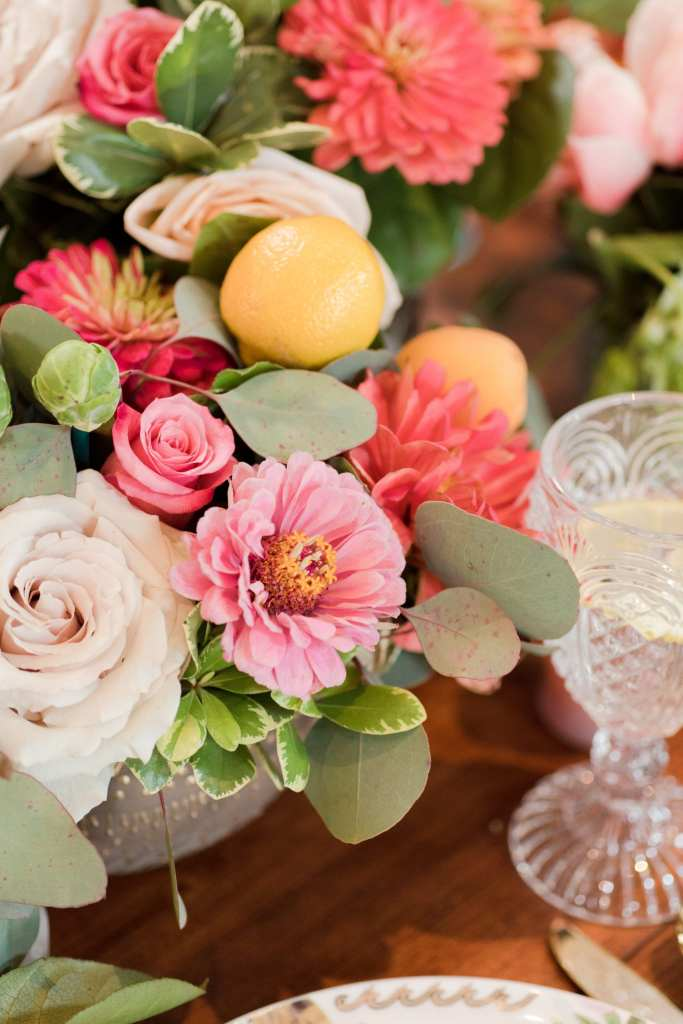 incorporating citrus into wedding florals, farm to table centerpieces, rustic wedding decor