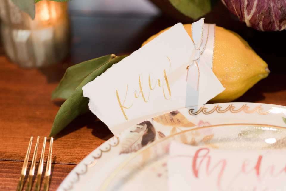 lemon place card holders, fruit place card holders, unique place card holders, hand written place card holders