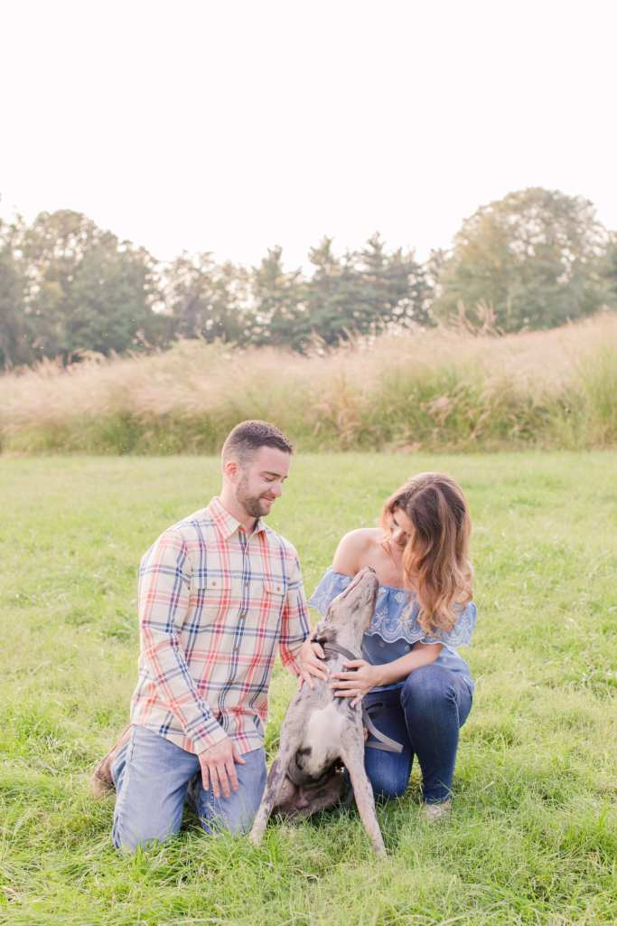 engagement photos with dogs, incorporating pets into your wedding photos, mountain lakes house