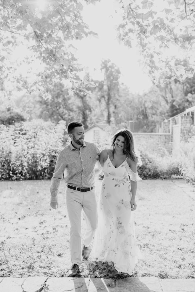 candid engagement photos, black and white engagement photos