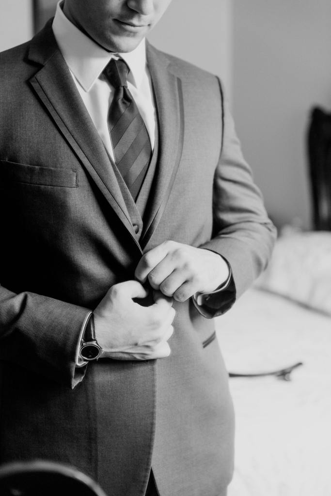 black and white photo, classic groom getting ready photo, NJ wedding photographer