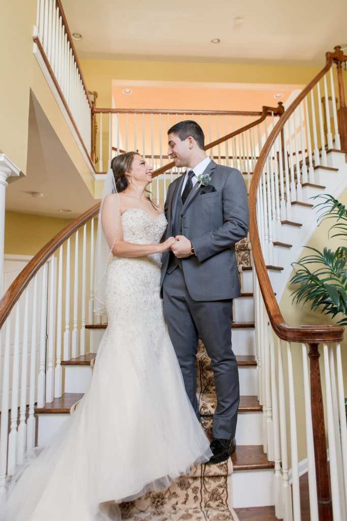 bride and groom portrait, bride and groom staircase portrait, NJ wedding photographer
