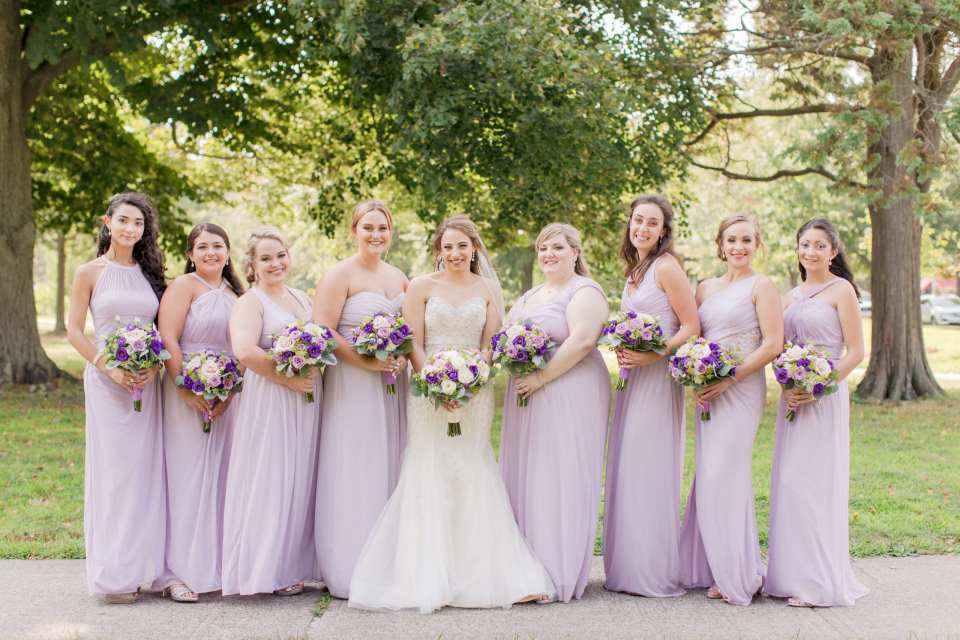 bride and her girls, lavender gowns, varied bridesmaids, Divine Park,