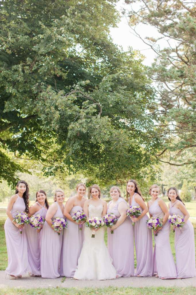 lavender bridesmaids, classic bridal party photo
