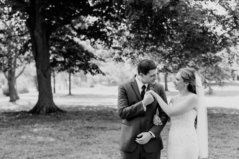 bride and groom black and white portrait, NJ wedding photographer
