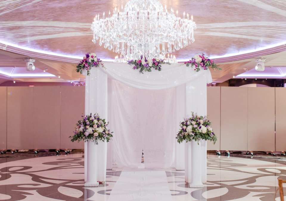 traditional indoor ceremony setup, elegant indoor ceremony setup, purple and white indoor ceremony design, Grand Marquis wedding ceremony, Central New Jersey weddings