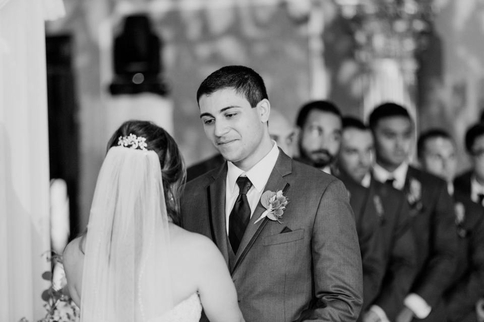 groom ceremony shot, black and white