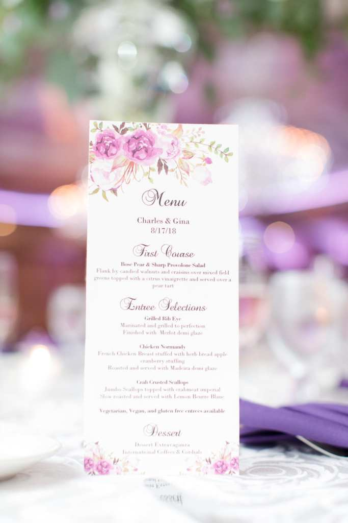 purple floral wedding reception menu, anns bridal bargain menu, Grand Marquis menu