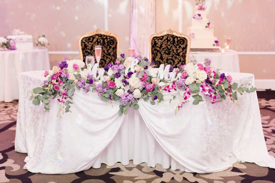 purple lavender sweetheart table, Grand Marquis sweetheart table, Sayrewoods Florals