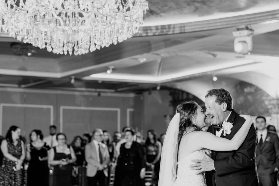 tender moment between bride and father, father daughter dance, black and white photo, NJ wedding photographer