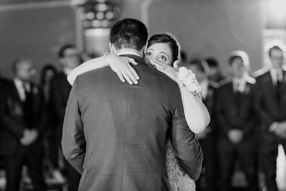 groom mother dance, black and white photo