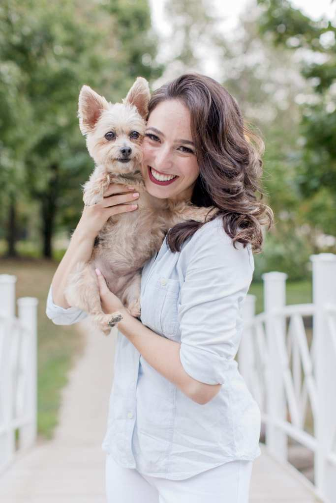 dog mom photo, dogs in engagement photos, engagement photos with pets, Sayen Gardens