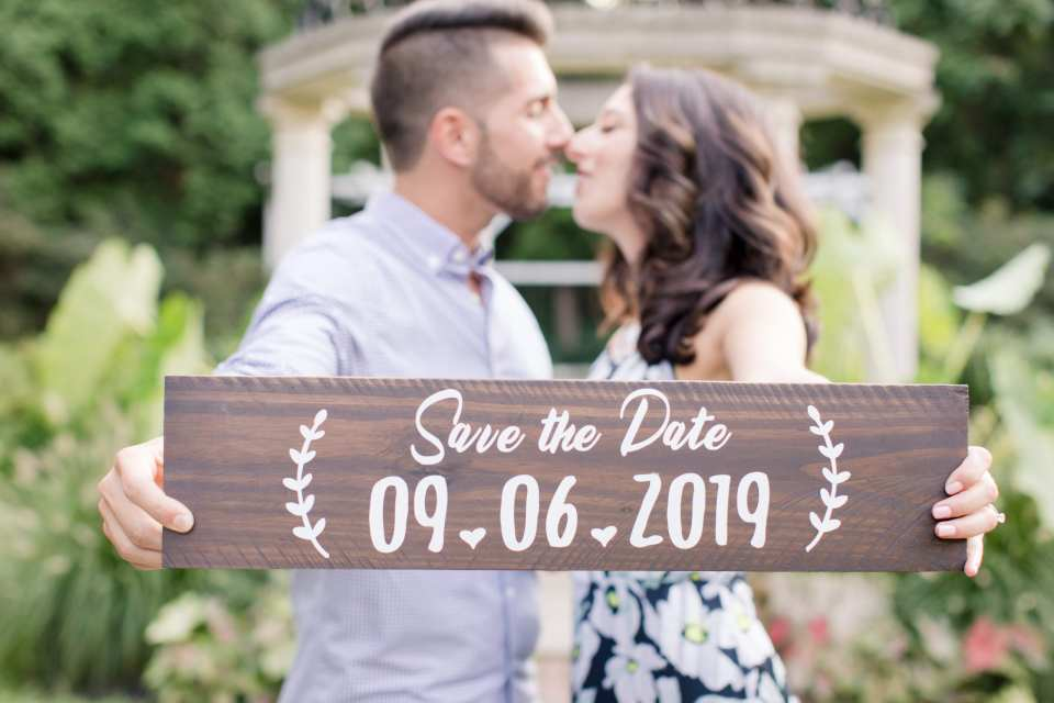 Temple Garden at Sayen Gardens, Save the Date Photo, Save the Date signage, NJ wedding photographer