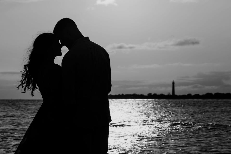 Cape May engagement session, black and white engagement session, lighthouse engagements, NJ wedding photographer