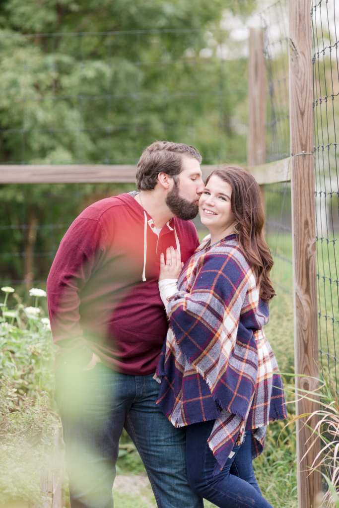 rustic engagement photos, cranberry and flannel engagement photos