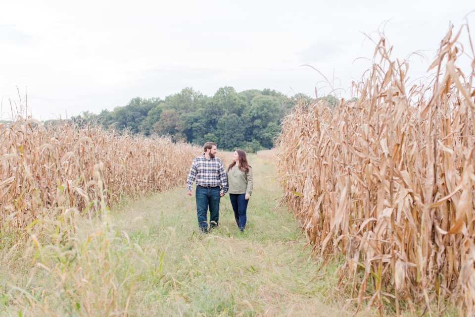 classic fall engagement session, cornfield engagement session, New Jersey wedding photographer