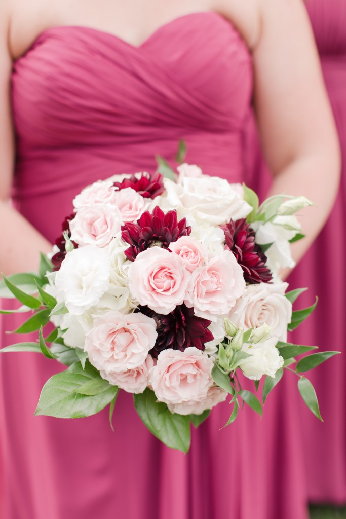 maroon pink white rustic floral bouquet