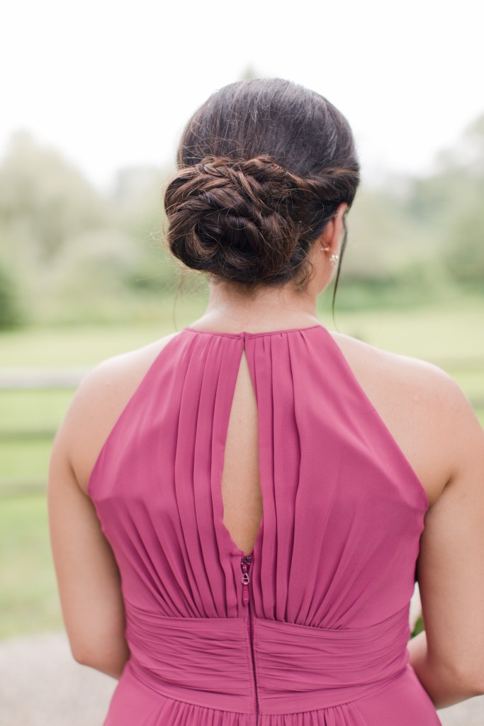 maroon bridesmaid, bridesmaid hair