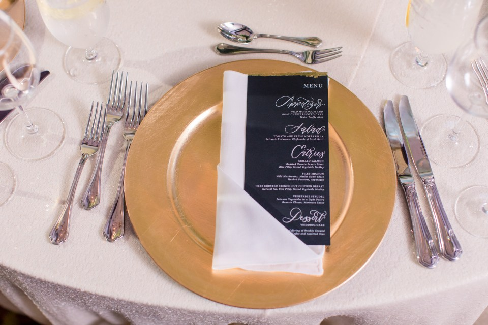 Nassau Inn dinner menu, Lace and Belle, Gold Chargers