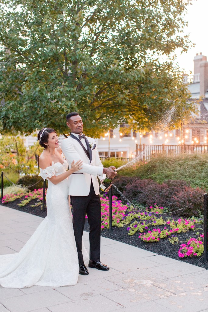 Bride and groom with champagne, Bride and groom candid, Bride and groom with props, Princeton NJ wedding, NJ wedding photographer