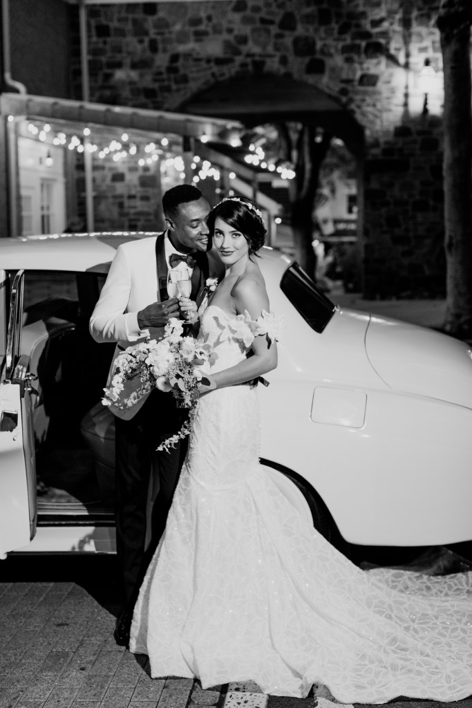 New Jersey wedding photographer, Black and white bride and groom, glam bride and groom
