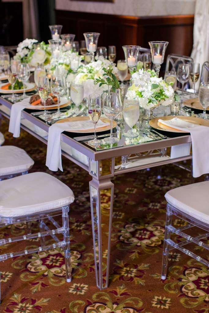 low table centerpiece, long table display, classic white wedding reception florals, Magnolia West events,