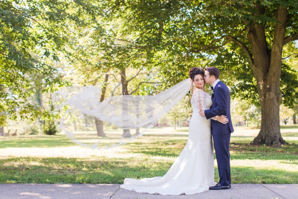 bride and groom veil in the wind photo, bride and groom portrait, NJ wedding photographer