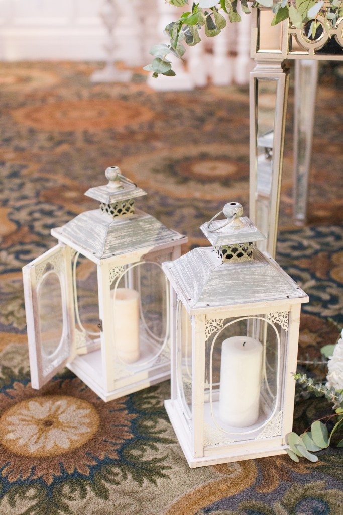 sweetheart table details, candle lantern wedding details