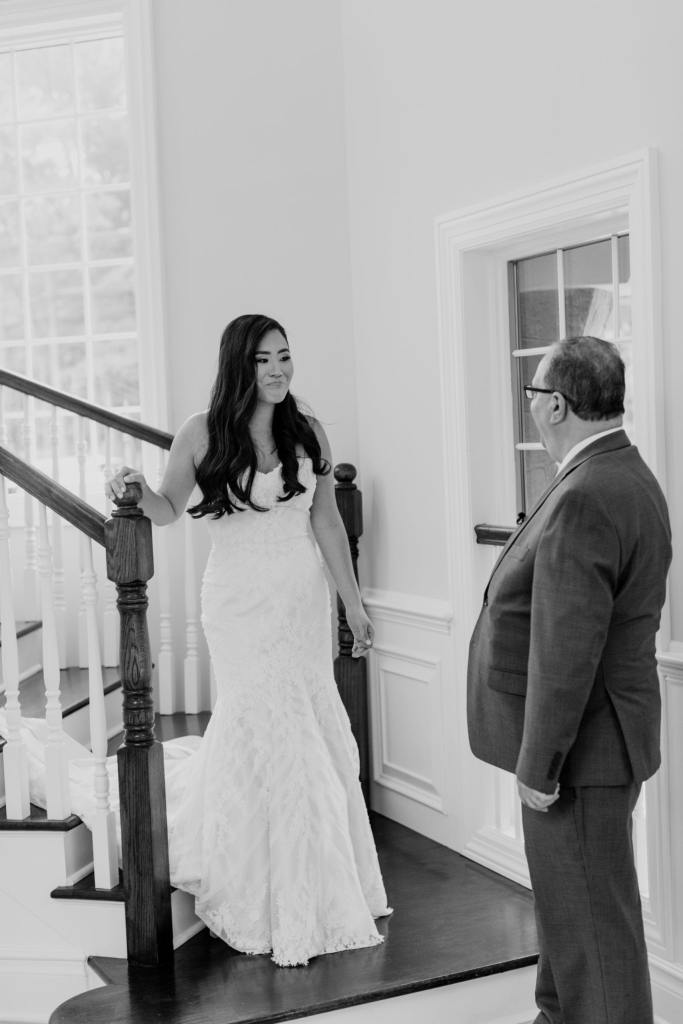 father of the bride sees his daughter for the first time, black and white photo, NJ wedding photographer